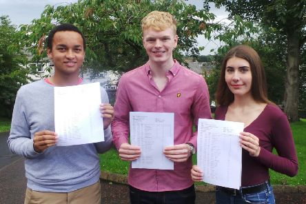 Top achievers Matthew, Luke and Courtney. Click on the image above or link below to launch our gallery from GCSE results day at Larne Grammar