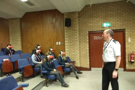 The Northern Ireland Fire and Rescue Service delivered a talk on road safety by virtual reality headsets at Larne Grammar School.