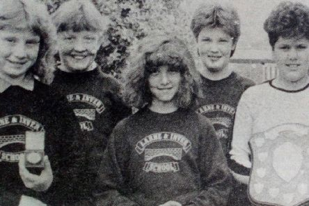 Larne and Inver Primary School - joint winners of the Larne Civic Week Hockey Tournament. 1989.