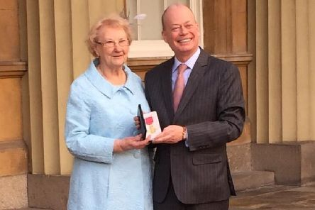Norman Houston with his aunt�Helen Crawford outside Buckingham Palace after receiving his OBE.