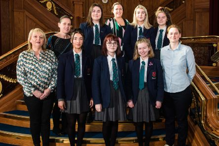 Larne Grammar pupils with Titanic Belfast's Head of Marketing, Eimear Kearney, Head of Visitor Attraction Denise Kennedy and Emma Stewart from Survitec, the event sponsor.