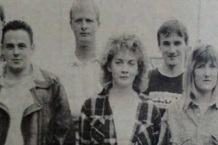 Young people from Larne who jumped with the Wild Geese Parachute Team in aid of Action  Cancer. 1989