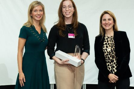 Pictured at the Undergraduate of Year Awards at East Winter Garden, Canary Wharf, London (L-R): Rachel Riley, 2019 Awards Host; Judith Cameron from Queen's University Belfast, UK Female Undergraduate of the Year; and Maria Kokkinou, Global Head of Talent, Leadership and Capabilities, Rolls-Royce.