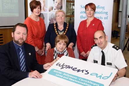The Commissioner for Older People for Northern Ireland - Eddie Lynch, Women's Aid ABCLN Ambassador Cllr Noreen McClelland, Mid & East Antrim Deputy Mayor Cllr Beth Adger, Women's Aid ABCLN CEO Rosemary Magill, MLA Pam Cameron, PSNI Chief Superintendent Simon Walls.