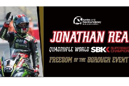 Exclusive memorabilia from Jonathan Rea's Freedom of the Borough celebration is up for grabs.