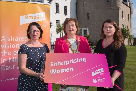 (L-R) Rhonda Lynn ( Mid and East Antrim), Mayor Cllr. Maureen Morrow and Portia Woods (Carrickfergus Enterprise).