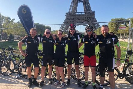 Jordan Bonar, Roy McMullan, Paul Topping, Kenneth McAllister, Cheryl Shaw and Chris Gardiner in Paris at the end of their challenge.