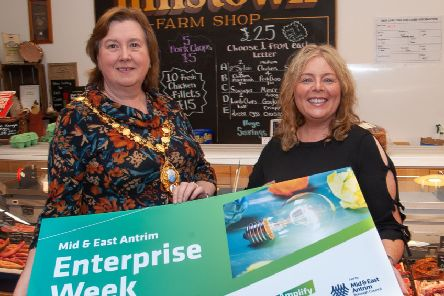 Mayor of Mid and East Antrim Borough, Cllr Maureen Morrow, with Council's Economic Development Officer, Jacqueline Reid