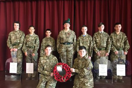 Cadets who took part in the Act of Remembrance at the school.