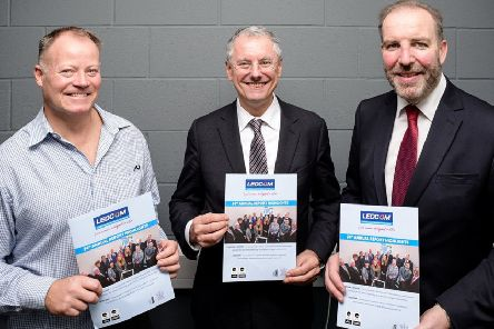 Dr Jim McIlroy, (left) head of operations at Millicent Pharma; Kevin Holland, the new CEO of Invest NI and Ken Nelson, CEO of LEDCOM