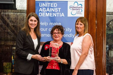 Sarah Travers with Geraldine Mulvenna and Bernadine McCrory, director Alzheimer's Society.  Picture: Elaine Hill Photography