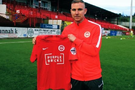 Andrew Mitchell following his move to Larne from Linfield. Pic courtesy of Larne FC.