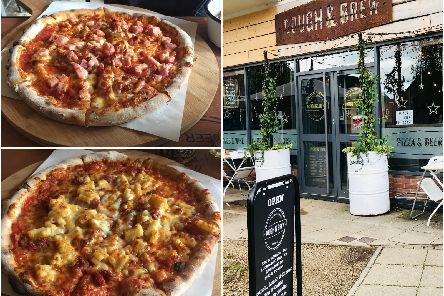 "Top left: Dough and Brew's ""clark"" pizza; ham, pepperoni and bacon, bottom left Dough and Brew's ""mork"" pizza; macaroni cheese and bacon pizza and a photo from outside Dough and Brew."