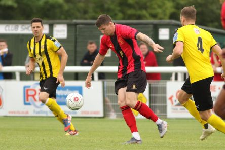 Matty Stenson takes advantage of a poor kick-out from Tony Breeden to put the visitors into the lead. Pictures: Tim Nunan
