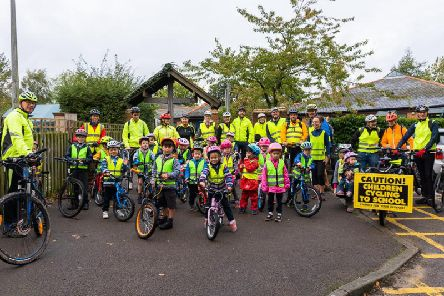 The group launch of the school cycle bus initiative for St Augustine's School in Kenilworth