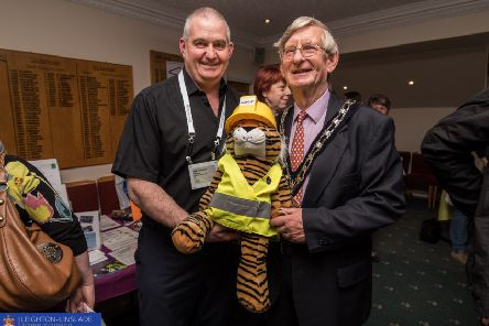Bob Chandler, Sponsors HASCAT Safety and LB Connect alongside Cllr Clive Palmer of Leighton-Linslade Town Council. Photo by Aleksandra Warchol