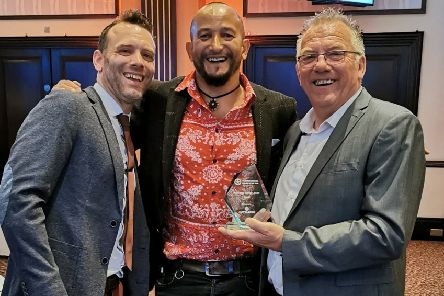 Aaron (left) and Ron (right) with Fuzz Townshend of Car SOS.