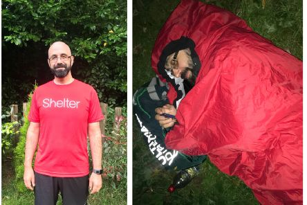 Jonathon, and right, during one of his overnight stops. His challenge took seven days to complete.