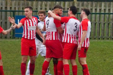 Leighton Town players celebrating Ben Pattie's goal in last weekend's 2-1 victory over Harefield United Picture by Andrew Parker