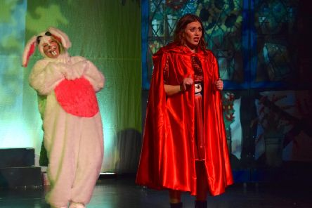 Leighton Buzzard Drama Group's production of Red Riding Hood - pictured are Bonkers Bunny (Caroline Page) and Red Riding Hood (Trish Turner)