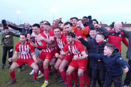 Leighton Town players celebrate after their FA Vase win at Bradford Town a fortnight ago - now they are preparing for the quarter-final at Kent club Corinthian FC on February 29