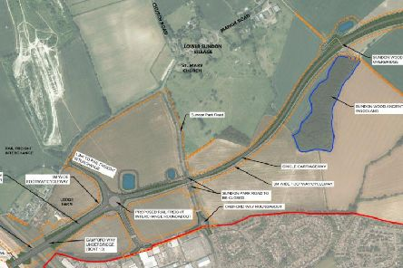 A map of the proposed M1-A6 road link