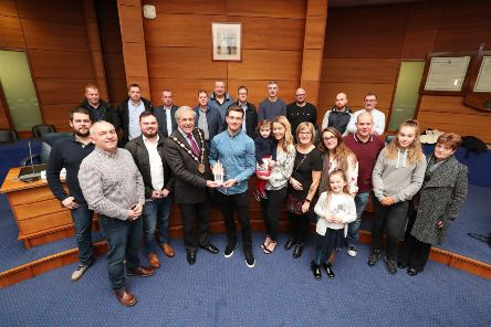 The Mayor of Lisburn & Castlereagh City Council, Councillor Uel Mackin welcomes Richard Bird's Motocross team, family and friends.