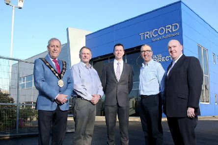 Noel Gordon and John Rodger, Directors at Tricord host the Council delegation of the Mayor, Councillor Uel Mackin; David Burns, Chief Executive and Alderman William Leathem, Chairman of the Council's Development Committee.