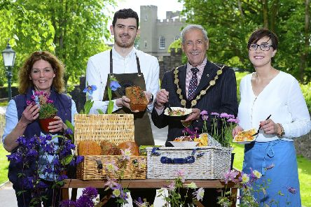 Pictured at the launch of this year's series of markets is (l-r) Lee White, Cottage Garden Plants, Isaac Barr, The Parson's Nose, The Mayor of Lisburn & Castlereagh City Council, Councillor Uel Mackin and Zara Greer, Barn & Bread.