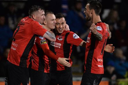 Rory Hale celebrates his goal against Linfield on Friday night