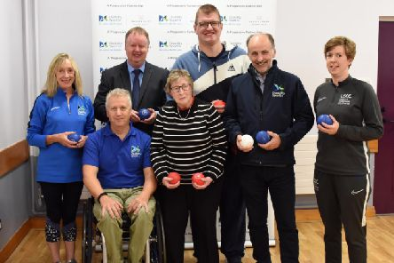 Pictured at the launch are from left Barbara Redmond-Disability Sport NI, Disability Sports Hub Activity Leader, Aubrey Bingham-Disability Sport NI, Community Sport Manager, Graham Norris - Progressive Building society, Regional Manager, participants from the Lisburn and Castlereagh Disability Sports Hub Boccia Group, Michael McAteer MBE, Disability Sport NI, Chairperson, Christine Duncan, Lisburn and Castlereagh City Council, Sports, Sports Development