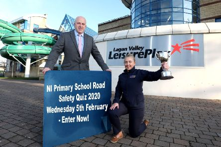 Chairman of the council's Leisure and Community Development Committee, Alderman James Tinsley along with Aideen McCrory, Marketing Assistant from Crash Services are encouraging local primary schools to enter the NI Primary School Road Safety Quiz taking place on Wednesday 5th February at Lagan Valley LeisurePlex