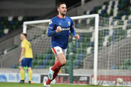 Andy Waterworth scored two goals for Linfield on Tuesday against Dungannon Swifts. Pic by Pacemaker.
