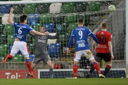 Jimmy Callacher heads Linfield into a 3-0 lead over Crusaders. Pic by INPHO.