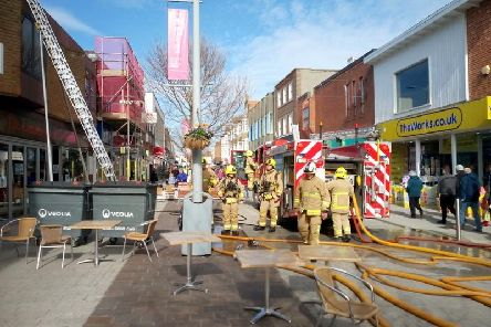 The fire service at the scene this morning. Picture by Roger Smith