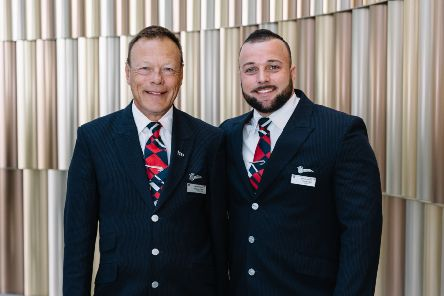 Andrew and Craig Obal, from Littlehampton, both work as cabin crew for BA and went on a Father's Day flight together. ''Picture by: Stuart Bailey