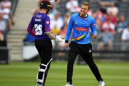 Danny Briggs celebrates a wicket against Gloucestershire - the game in which he became the top wicket taker in English T20 contests / Picture: Getty Images