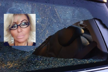 Joanne Smith (inset) and her car window after the incident