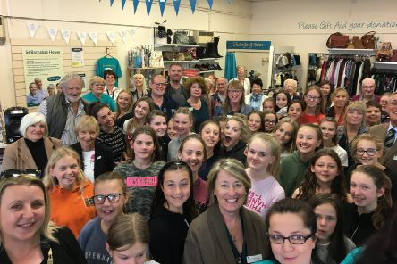 The St Barnabas House shop in Wick, packed with guests for the 20th birthday party