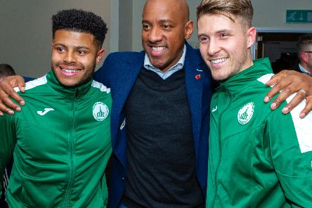Dion Dublin, who drew Chi's name out of the machine, meets the City players / Picture by Neil Holmes