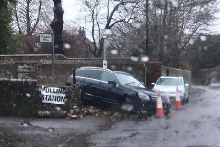 The car outside the village hall this morning (Thursday December 12)