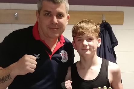 Bar Boxing Club coach Ady Clark (left) and fighter Oscar Ericson