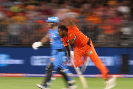 Perth Scorchers' Chris Jordan in action against Adelaide Strikers / Picture: Getty