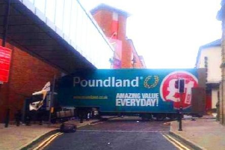 The lorry after the handbrake had been released and it crashed into Foyleside Shopping Centre in Londonderry.