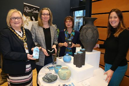 The Mayor of Causeway Coast and Glens Borough Council, Councillor Brenda Chivers pictured with Zoe Bratton, Tourism Product Development Officer, Causeway Coast and Glens Borough Council at the 'Crafters Showcase' at Flowerfield Arts Centre with representatives from VM Jewellery and Elements Studio.