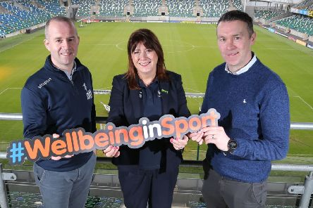 Steven Mills, Club Development Officer with Northern Ireland Football League, Antoinette McKeown, Sport Northern Ireland CEO and Oisin McConville, Sporting Chance Facilitator and recently announced Sport Northern Ireland Mental Health Ambassador.