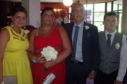 Andrew Duncan, who died while waiting for a heart transplant, pictured with his daughter Aimee, wife Suzanne and son Robbie