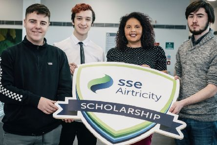 DARO Scholarships. dam Millar (Derry City), Alex McCrystal (Moneymore), Mia Fahey McCarthy (SSE Airtricity) and Matthew McLaughlin (Derry City)(Photo: Nigel McDowell/Ulster University)