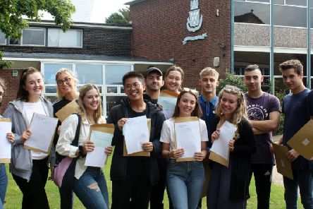Students celebrate their A-levels at Queen Elizabeths Grammar in Alford.