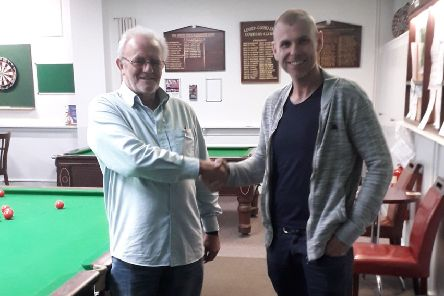 Louth Billiards and Snooker League president Terry Robinson with Mark Parrinder, director of new league sponsors T. Marris Carpets EMN-191021-092024002